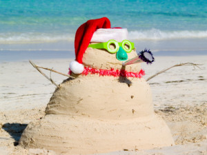 sand snow man on beach